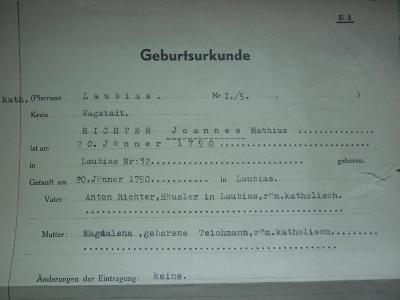 GEBURTSURKUNDE FARA  LAUBIAS RICHTER  1943 ARIJSKÝ PŮVOD č.20! RR