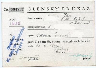 Průkaz-Beroun- politika -člen Čs. strany národně socialistické,1946