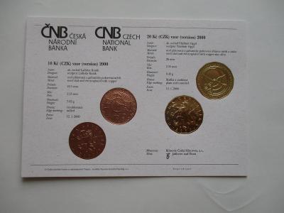 Certifikát ČNB k vydání oběžných mincí 10 a 20 Kč 2000, čs-angl. verze