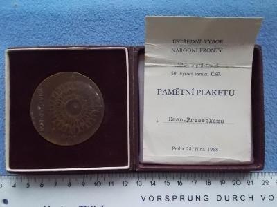Medaile plaketa bronz 1968 dekret etue originál socialismus 50. let ČR
