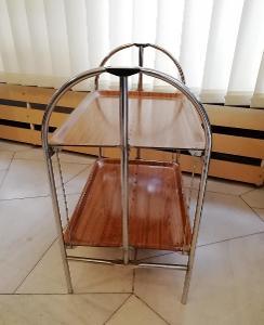 unikátní retro rozkládací stolek chrom umakart