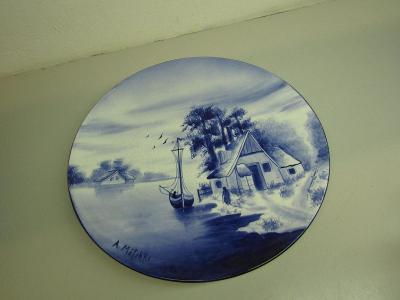 Starožitný porcelánový  velký nástěnný talíř A. Mölchke