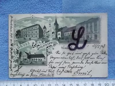 Karlovy Vary  Karlsbad  Ostrov litografie koláž Hotel Renthaus  1898 !