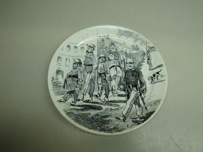 Starožitný porcelánový talíř Deposé Gauche Droite etc.