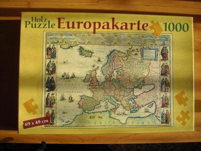 Puzzle historická mapa Evropy, 1 000 dílků, nové - tip na dárek