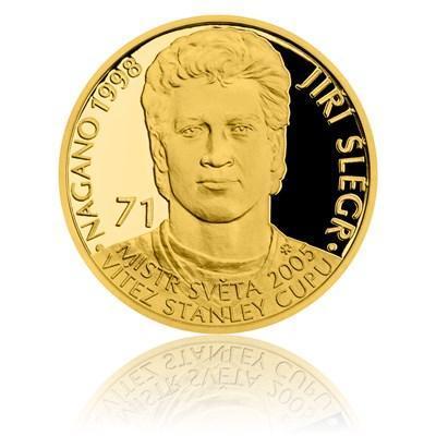 Zlatá čtvrtuncová mince Legendy čs. hokeje - Jiří Šlégr proof