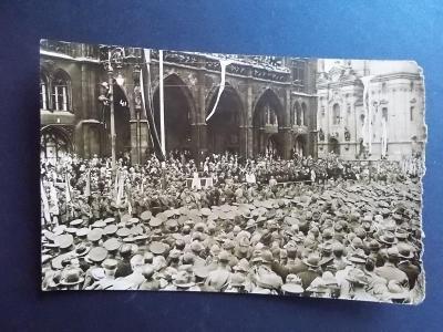Pohlednice Praha foto Dítě Vojenská přehlídka armáda Jízdní pluk legio