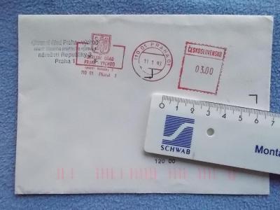 Dopis celistvost obálka ČR Okresní úřad Praha Státní znak stroj razítk
