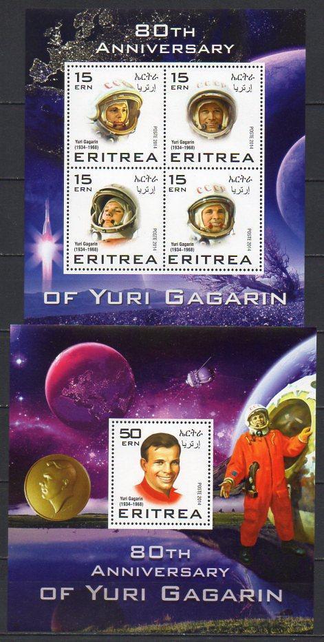 Eritrea-J.A.Gagarin 2014** 1Klb+1 Bl. / 115.-Kč - Filatelie