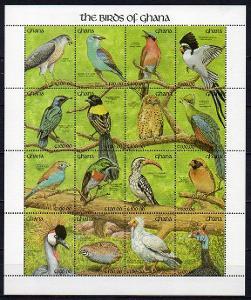 Ghana-Ptáci 1991** Mi.Klb 1562-1577 / 18 €