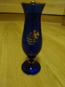 Váza RETRO modrá MDŽ 20 cm ČSSR stav výborný