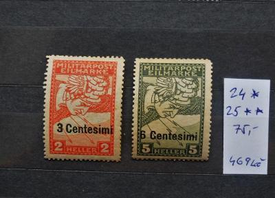 RAKOUSKO UHERSKO FELDPOST ITÁLIE Mi 24, 25 SVĚŽÍ* i ** KAT. 75 EUR