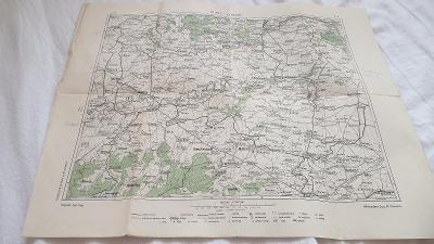 Stará mapa z edice Vilímkovy podrobné mapy cca r.1920 Louny-Terezín