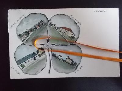 Praha Benešov Zdislavice čtyřlístek sbírková mlýn  koláž litografie