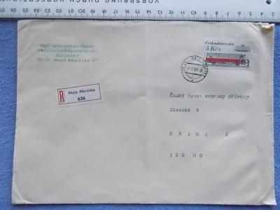 Celistvost obálka dopis R nálepka doporučeně Jeseníky Malá Morávka