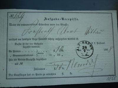 1868 ALTBRÚNN STARÉ BRNO RECEPISSE