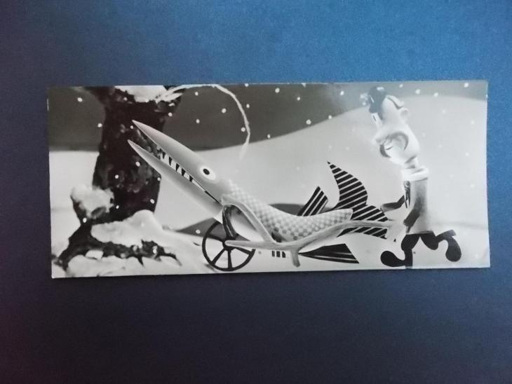 Umělecký pohled foto Vaněk koláž Vánoce přání štika trakař rybář rozkl - Pohlednice