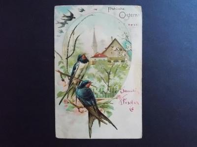 Pohlednice Přání Velikonoce jaro vlašťovka koláž větve s posypem relie