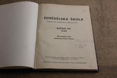 STARÉ SVÁZANÉ ČASOPISY ZEMĚDĚLSKÁ ŠKOLA  ROK 1958