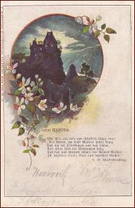 Krajina * hradní zřícenina, květiny, báseň, gratulační * M6096