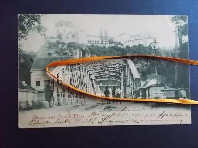 Znojmo Vranov Dyje železný most cukrárna hrad zámek 1899 !!!