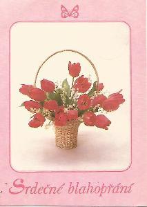 tulipány v košíčku, foto S. Slafkovská, srdečné blahopřání 3-55°°