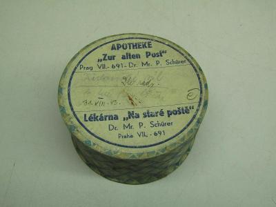 Starožitná papírová krabička od léku Lékárna na staré poště Praha