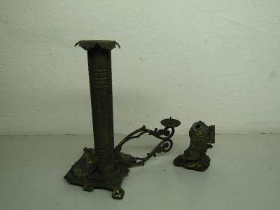 Starožitný kovový svícen a soška / torza
