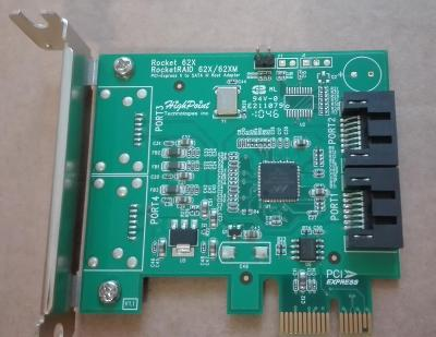 Značkový řadič Rocket 620A od americlé firmy  HighPoint do PCIE bulk