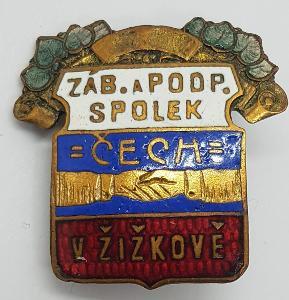 Odznak - Žižkov , Zábavní a podpůrný spolek Čech Žižkov , Karnet , /BX