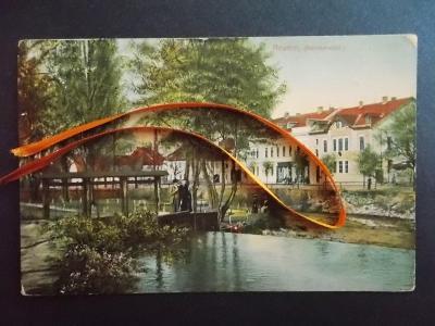 Šumava Klatovy Nýrsko Neuern Partie u rybníku stavědlo hráz lidé