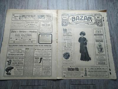 Bazar 1908  - módní noviny - móda - šití - 40 x 30 cm