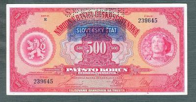 500 korun 1929 SLOVENSKÝ ŠTÁT pěkný stav