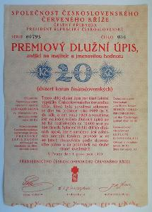 starý prémiový dluhopis ČK 1920 cenný papír