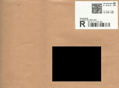 R-obálka z Německa, vysoké poštovné - viz detail