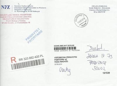 R-obálka z Polska - R-nálepka, razítka, změna místa doručení