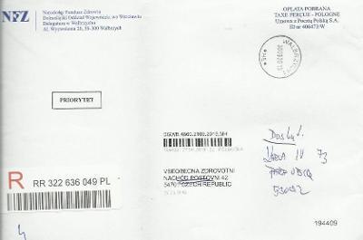 R-výstřižek z Polska - R-nálepka, razítko, změna místa doručení