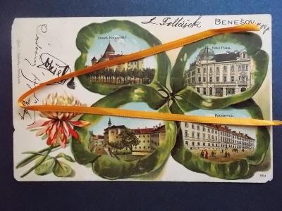 Praha Benešov koláž čtyřlístek květ jetele tlačená reliéfní