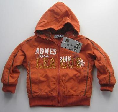 Dětská bunda zateplená flaušem vel. 12 měs. oranžová