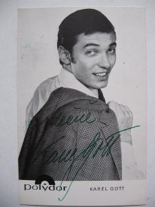 Autogram Srdečně Karel Gott na první kartičce Polydor !