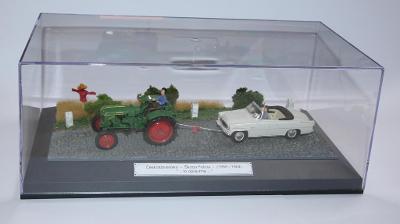 Škoda Felícia + traktor 1964  - diorama - 1:43