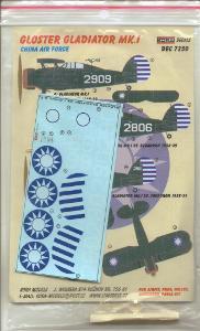 Obtisky na Gloster Gladiator Mk.I China Air Force 1/72 Kora
