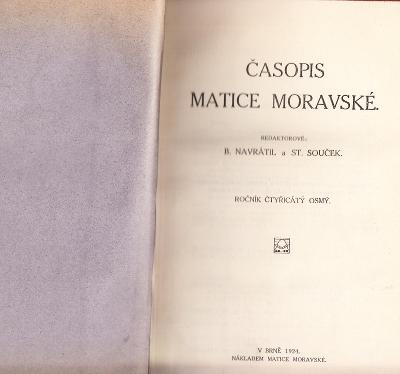 ČASOPIS MATICE MORAVSKÉ 1924-440 STRAN !!!