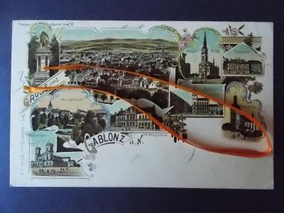 Jablonec n Nisou  Gablonz Evangelický kostel koláž střelnice lito