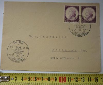 OBÁLKA III. ŘÍŠE - DEUTSTCHES REICH - VÍDEŇ 1941 W. A. MOZART