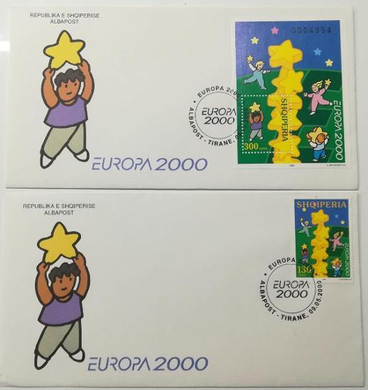 Europa 2000 - společné vydání s ČR - FDC Albánie oba typy - Filatelie