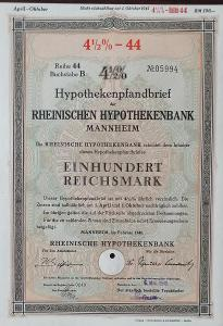 RHEINISCHE HYPOTHEKENBANK, MANNHEIM, 100 RM, 1940, 5994