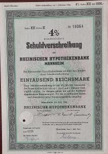 RHEINISCHE HYPOTHEKENBANK, MANNHEIM, 1000 RM, 1941, 18064