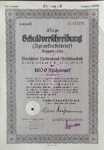 DEUTSCHE RENTENBANK KREDITANSTALT, BERLIN, 1000 RM, 1940, 127270
