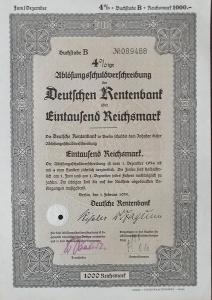 DEUTSCHE RENTENBANK KREDITANSTALT, BERLIN, 1000 RM, 1935, 89488